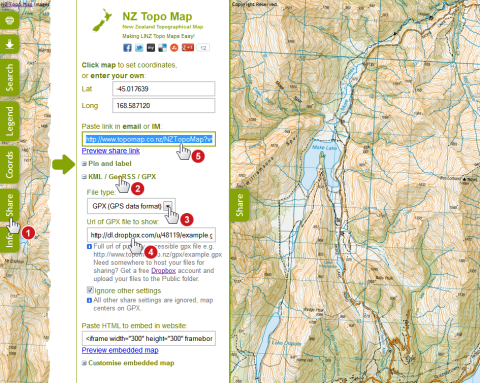 Share KML / GPX file on NZ Topo Map instructions